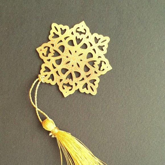 Bookmark -Brass metal cutting indian flower 2